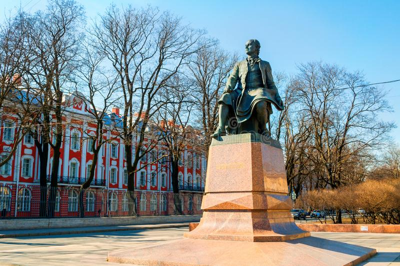 St Petersburg, Russia. Monument to Mikhail Vasilyevich Lomonosov - famous Russian scientist, naturalist, poet. St Petersburg, Russia - April 5, 2019. Monument to royalty free stock photography