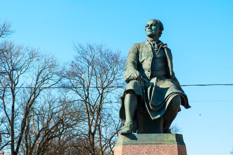 St Petersburg, Russia. Monument to Mikhail Vasilyevich Lomonosov - famous Russian scientist, naturalist, poet. St Petersburg, Russia - April 5, 2019. Monument to royalty free stock photo