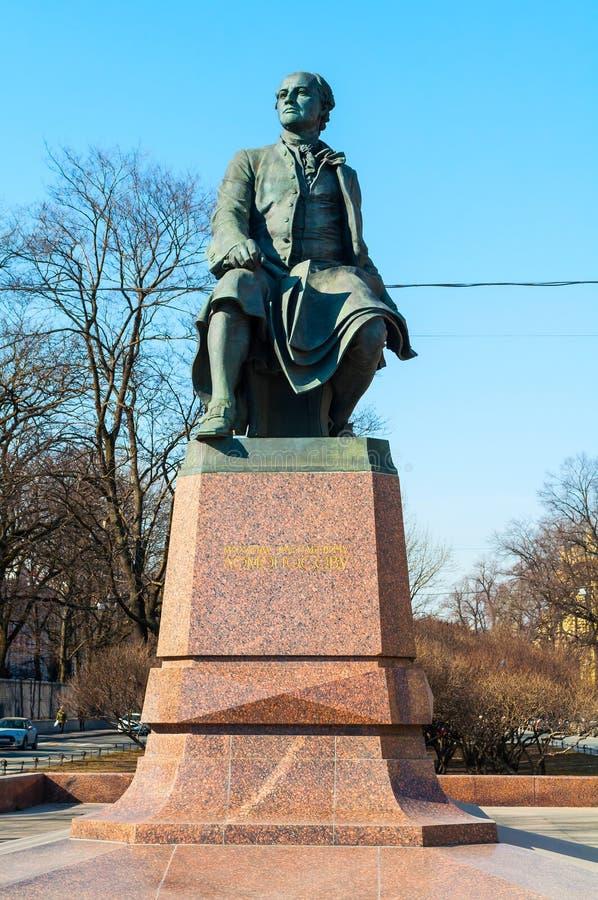 St Petersburg, Russia. Monument to Mikhail Vasilyevich Lomonosov - famous Russian scientist, naturalist, poet. St Petersburg, Russia - April 5, 2019. Monument to stock images