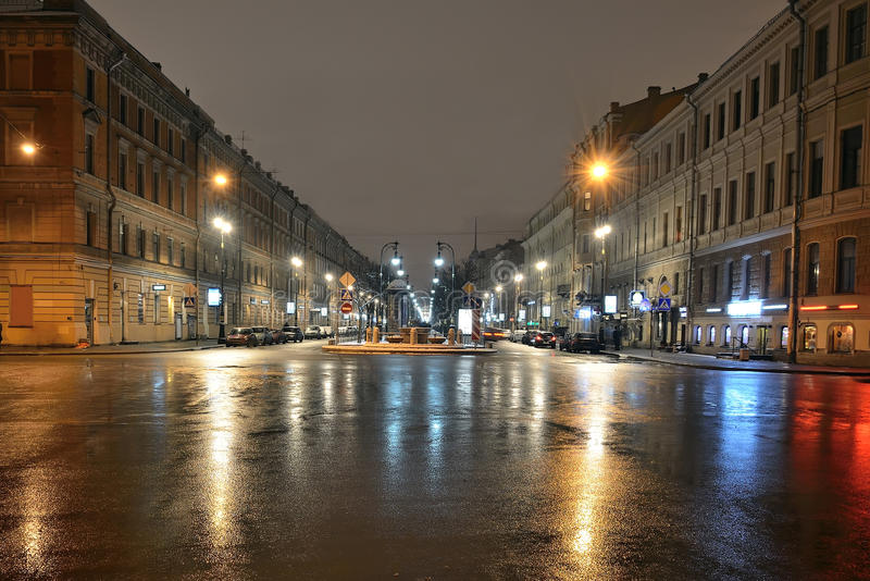 St. Petersburg, Russia at night stock images