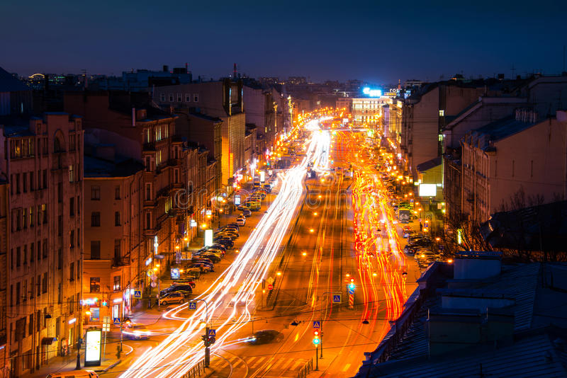 St Petersburg, Russia. Night view of Ligovsky Prospect stock images