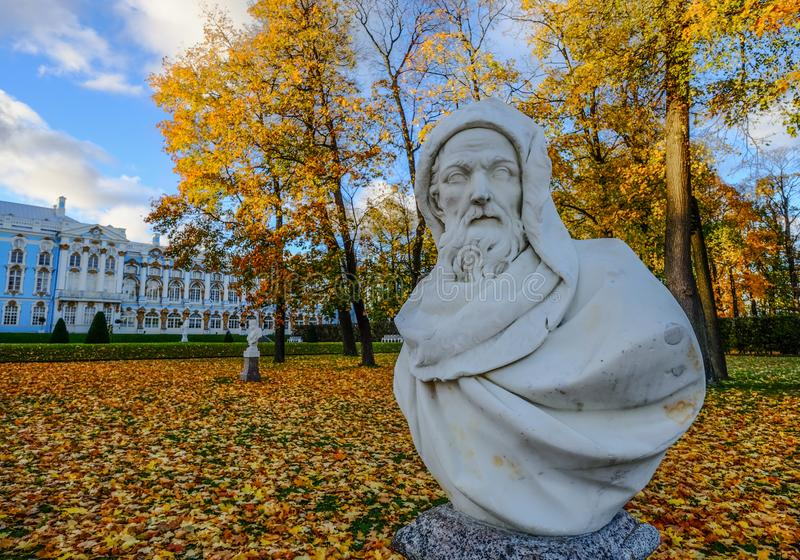 Marble statue at Catherine Palace. St Petersburg, Russia - Oct 7, 2016. Marble statue at Catherine Palace in Saint Petersburg, Russia. Catherine Palace was the stock images