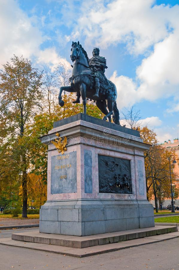 Monument to Peter I, bronze equestrian monument of Peter the Great. St Petersburg, Russia. St Petersburg, Russia - October 3, 2016. The Monument to Peter I stock photo