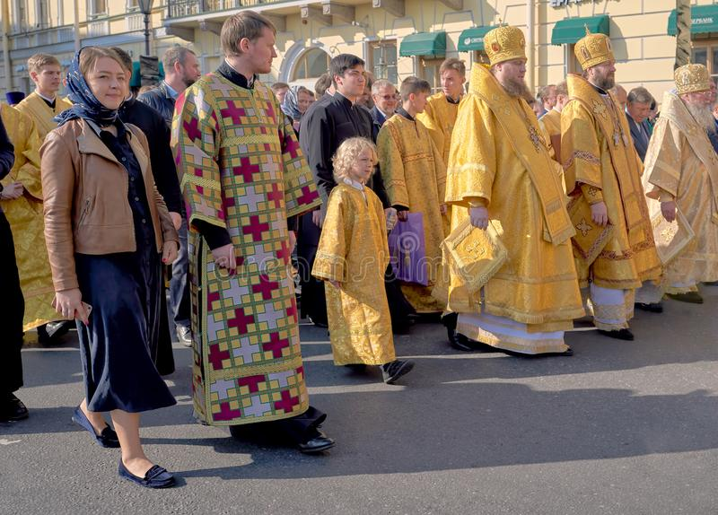 ST.PETERSBURG, RUSSIA - September 12, 2019: Priests in festive church clothes come out for a religious procession on Nevsky. ST.PETERSBURG, RUSSIA - September 12 stock photo