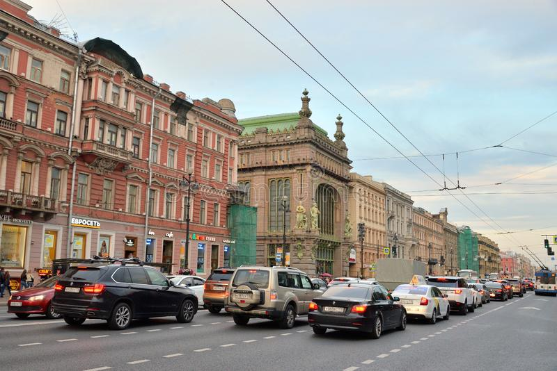 View of the Nevsky Prospect. ST.PETERSBURG, RUSSIA - 11 SEPTEMBER 2018: View of the Nevsky Prospect the main street of St.Petersburg at summer evening royalty free stock photography