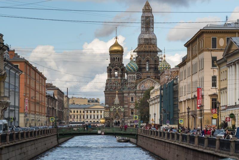 St Petersburg, Russia - 21 settembre 2017: Chiesa del salvatore su sangue fotografie stock libere da diritti