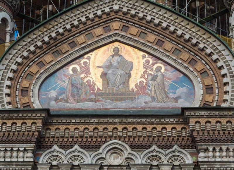 St Petersburg, Russia - 10 settembre 2017: Dettaglio dei mosaici della chiesa del salvatore su sangue rovesciato immagine stock libera da diritti