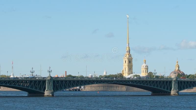 Troitsky bridge and a chapel of Peter and Paul Fortress stock photography
