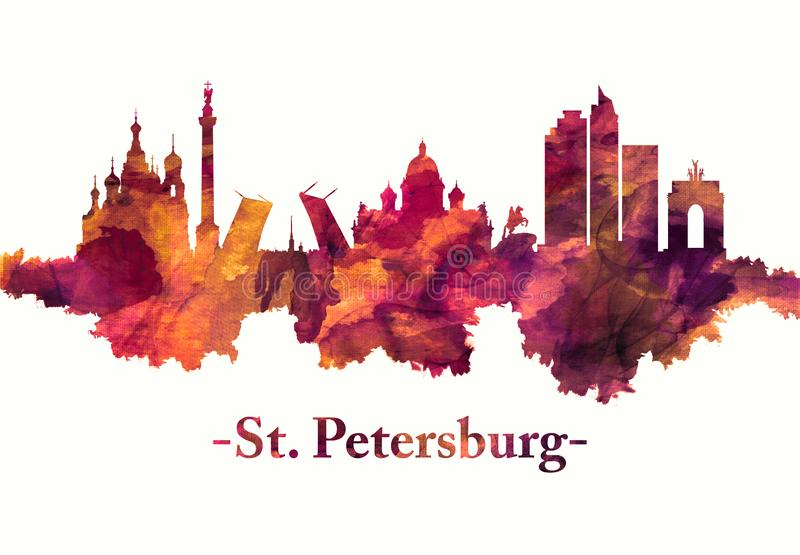 St. Petersburg Russian skyline in red stock illustration