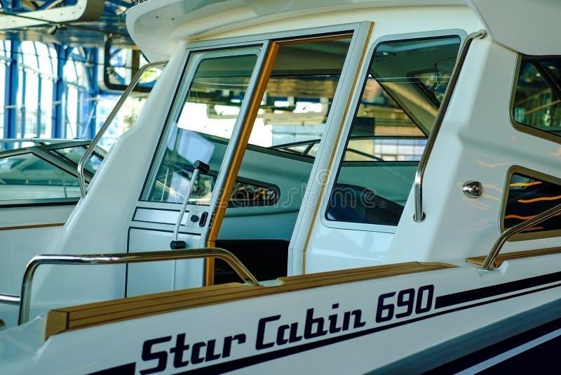 St Petersburg Russie 05 19 2018 Aspect et cabine de contrôle d'un bateau image stock