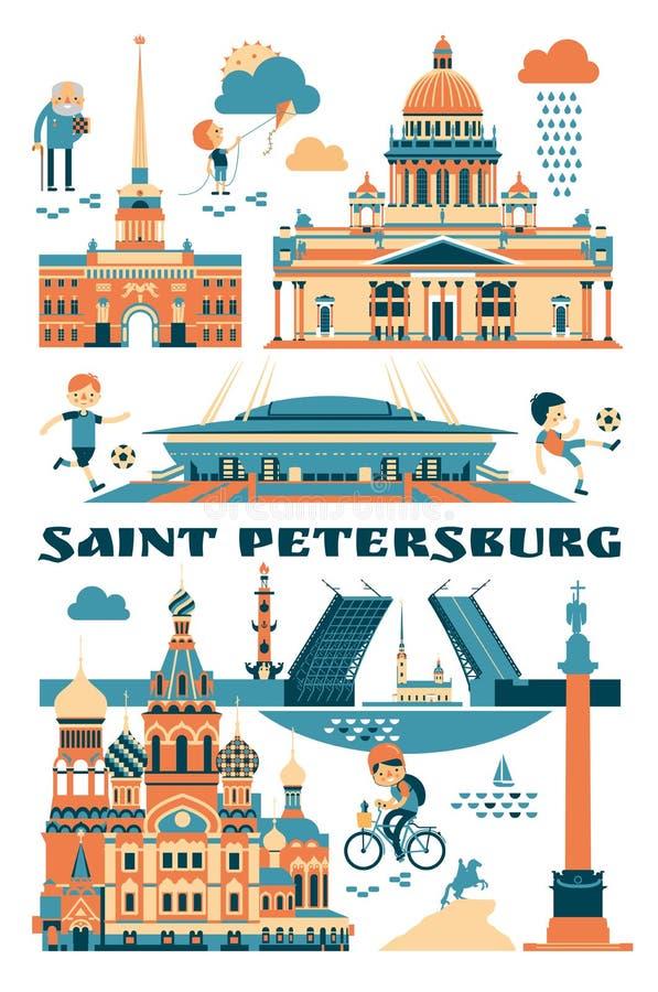 St Petersburg, Russie Illustration de vecteur des vues de ville illustration libre de droits