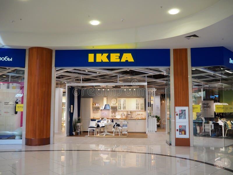 St Petersburg, Russland 06 30 2019 Berühmter schwedischer IKEA-Speicher in Atlantic City Mall lizenzfreie stockbilder