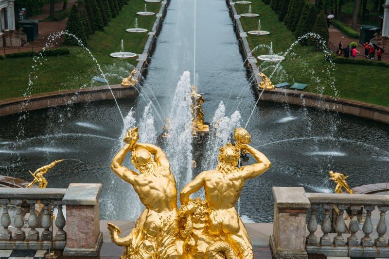 St Petersburg Ryssland - Circa Juni 2017: Grand Canal med springbrunnar i Peterhof eller Petergof arkivfoton