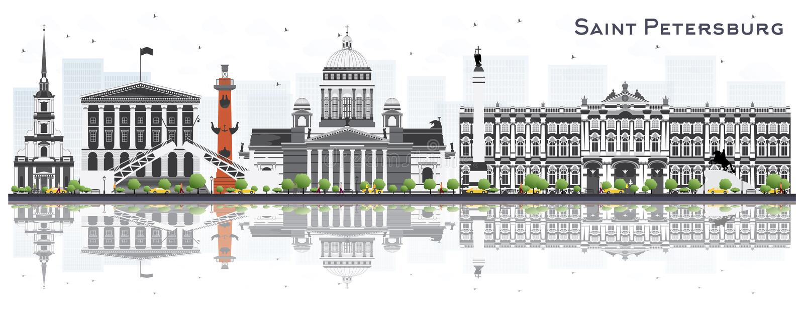 St Petersburg Ryssland horisont med Gray Buildings Isolated på vektor illustrationer