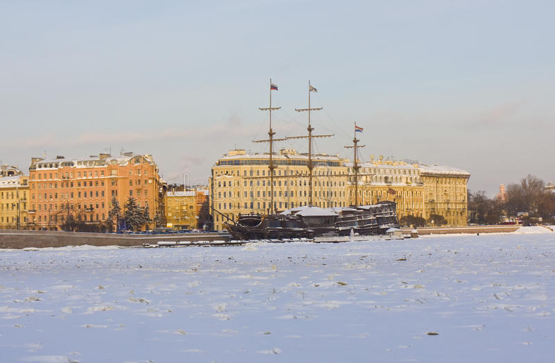 Download St. Petersburg, Sailing Ships In Winter Stock Image - Image: 28743441