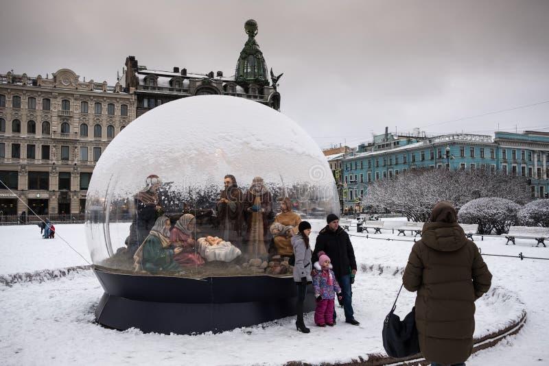 St Petersburg, scène de nativité de Noël images stock