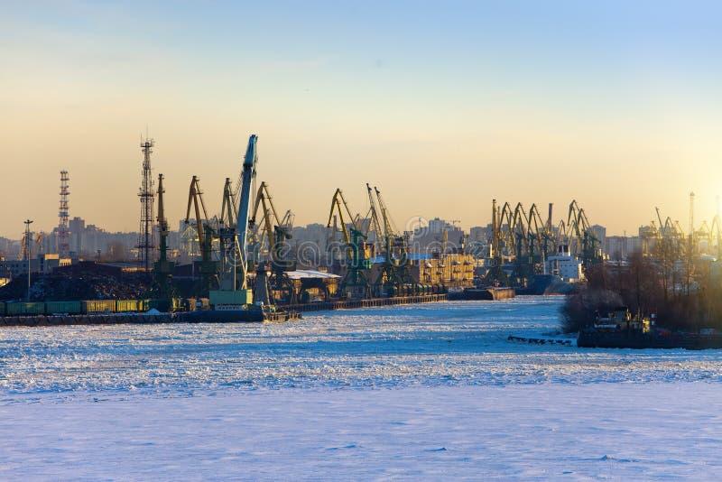 St Petersburg seaport Ryssland Sikten från golfen av Finland täckte med is fotografering för bildbyråer