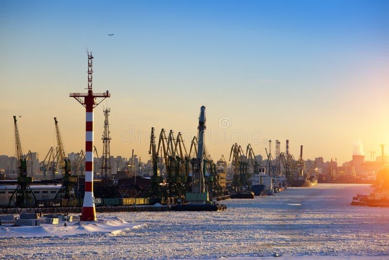 St Petersburg seaport Ryssland Sikten från golfen av Finland täckte med is royaltyfri foto
