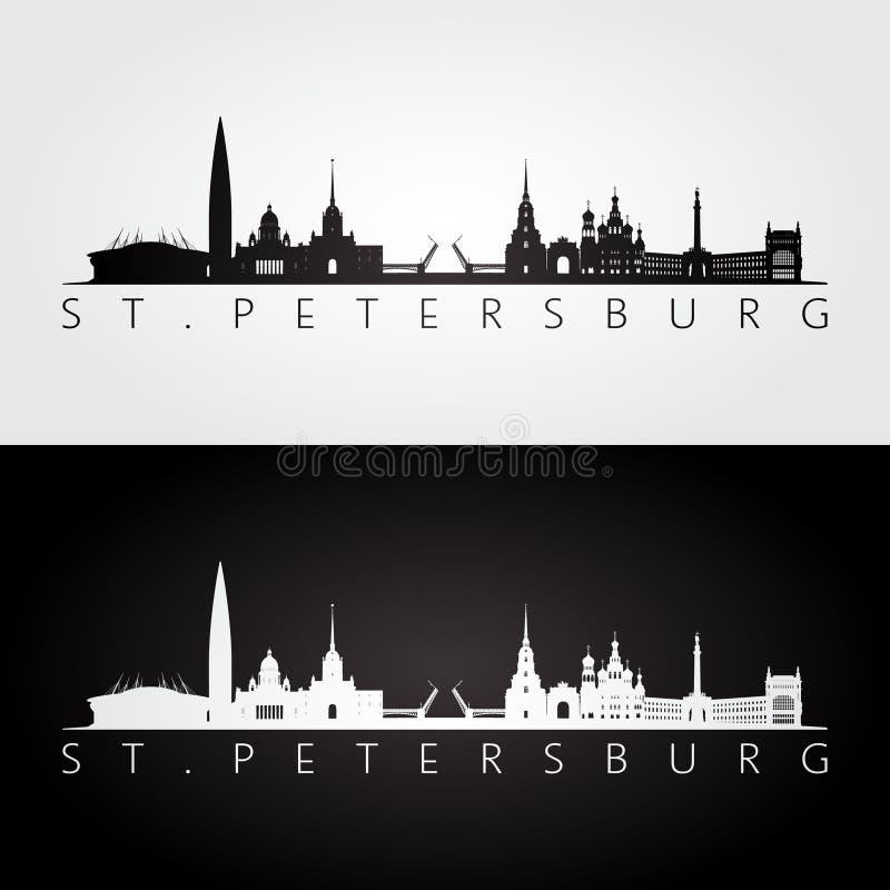 St. Petersburg skyline and landmarks silhouette stock illustration