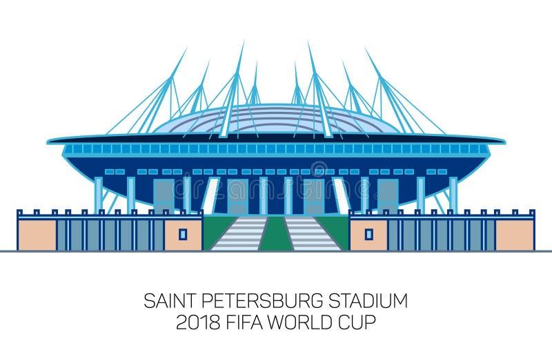 St Petersburg stadion, Krestovsky stadion, Zenit arena, minsta linje konststil royaltyfri illustrationer