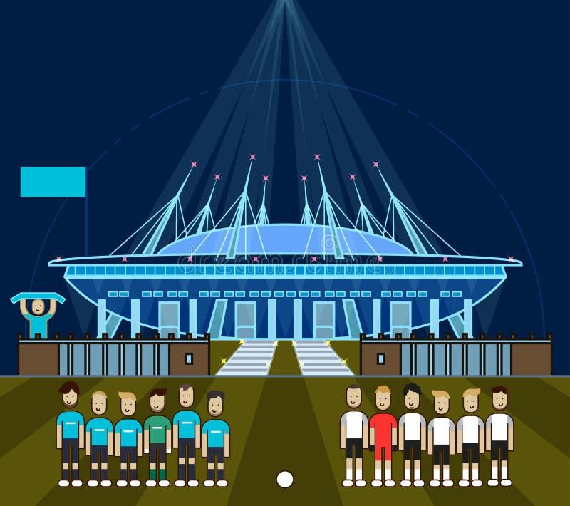 St Petersburg stadion, Krestovsky stadion, Zenit arena, minsta linje konststil, nattbelysning royaltyfri illustrationer