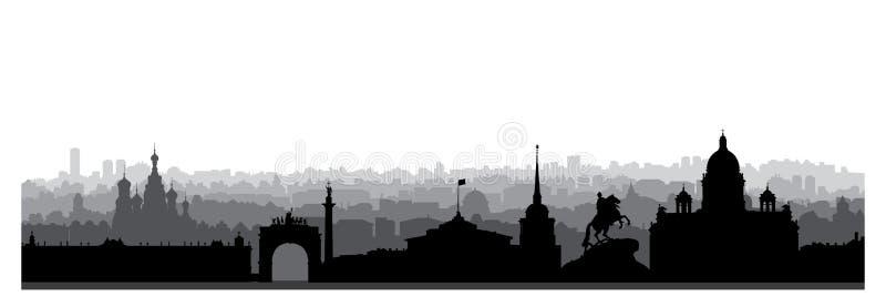 St Petersburg stadshorisont, Ryssland Turist- gränsmärkekontur vektor illustrationer