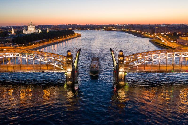 St. Petersburg, white nights, divorced Bolsheokhtinsky bridge, the passage of ships along the Neva.  stock image