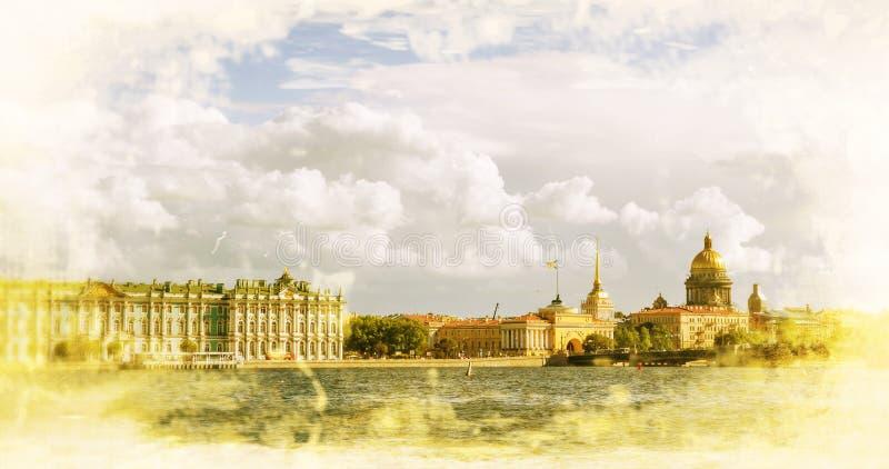 St Petersburg Widok na Świątobliwej Isaac katedrze zima pałac i admiralicja fotografia stock