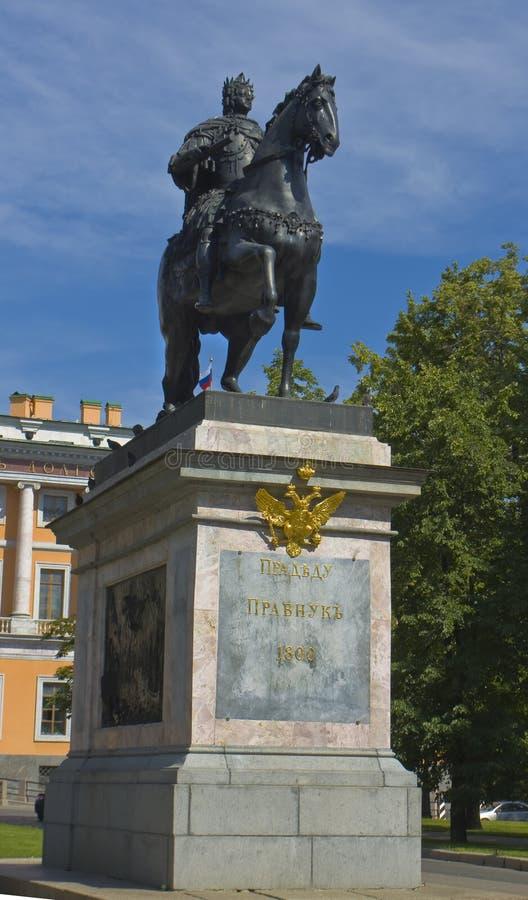 St. Petersburg, zabytek królewiątko Peter Ja zdjęcia royalty free