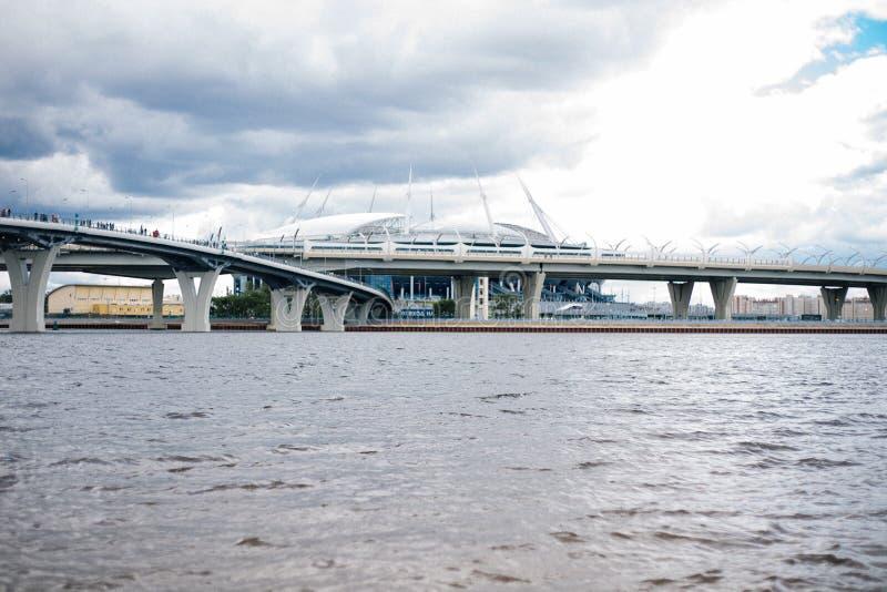 St Petersburg Zenit arena, Ryssland, Juli, stadion, 2017, arkivbild