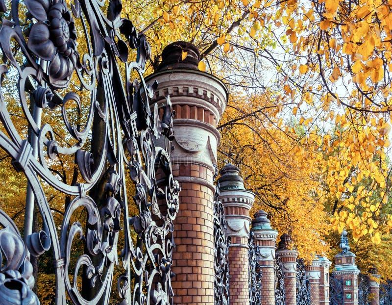 St- Petersburgherbstansichtzaun des Mikhailovsky-Gartens in St Petersburg, Russland am Herbsttag lizenzfreies stockbild