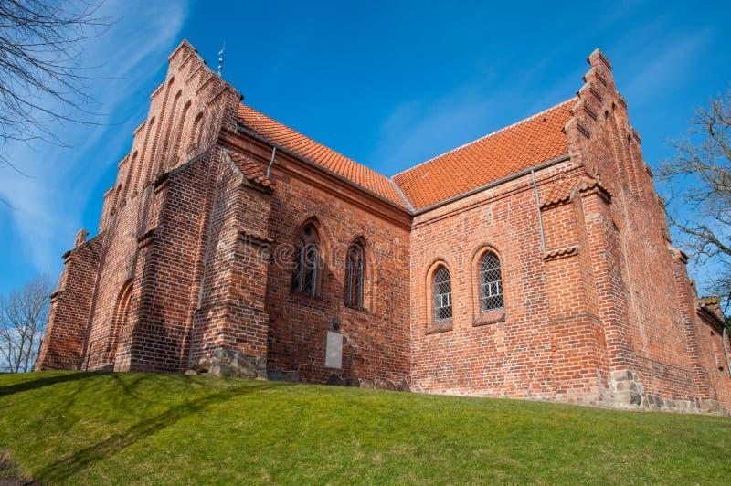 St peterskerk in stad van Slagelse in Denemarken stock afbeeldingen