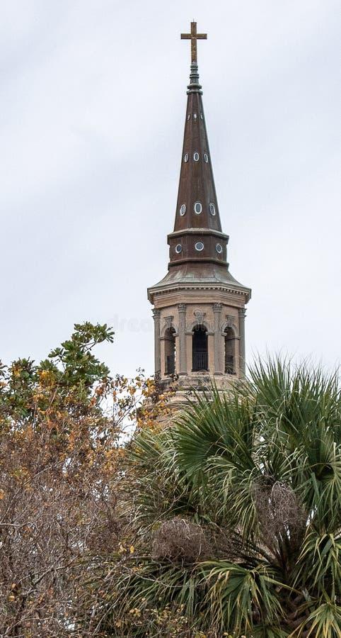 St Philips Kościelny Steeple w Charleston Południowa Karolina zdjęcie stock