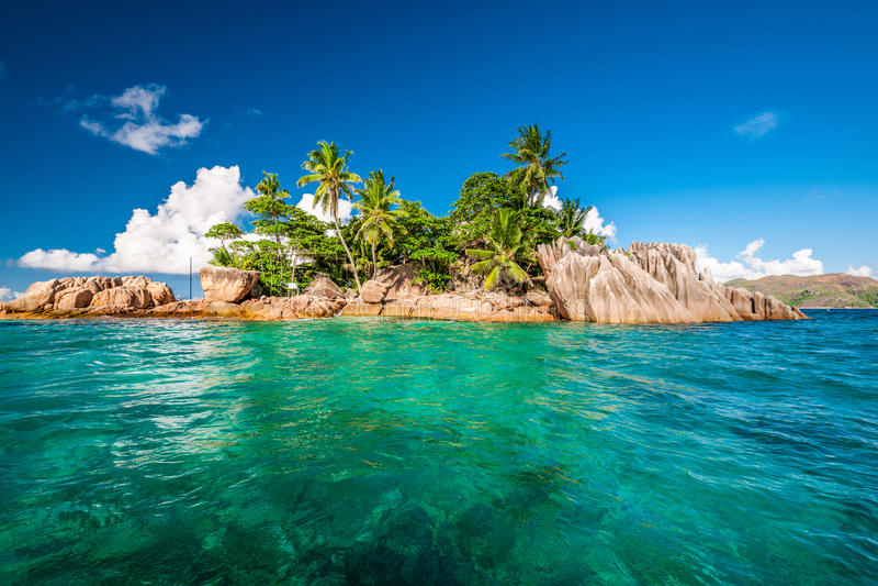 St Pierre Island på Seychellerna arkivfoto