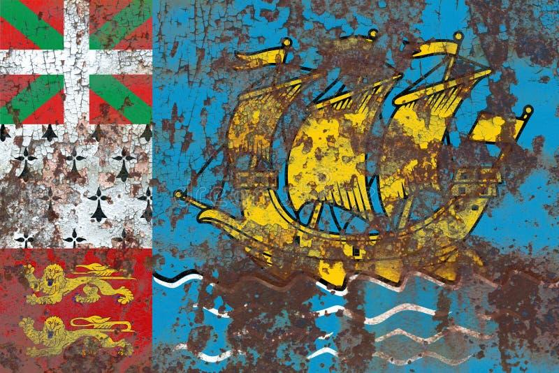 St Pierre-miquelon grungeflagga, Frankrike anhörigterrito arkivbild