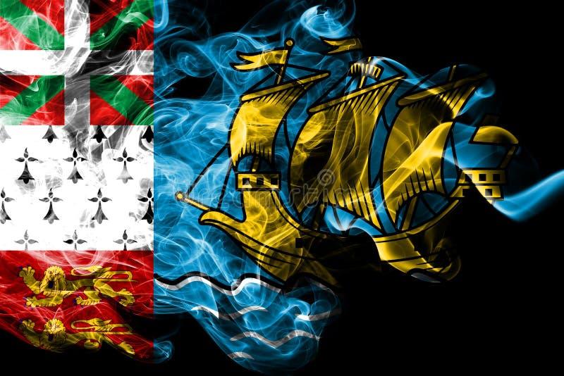 St Pierre-miquelon rökflagga, Frankrike beroende territoriumflagga stock illustrationer