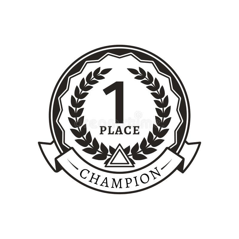 1st Plaatsmedaille voor Kampioen Zwart-wit Logotype stock illustratie
