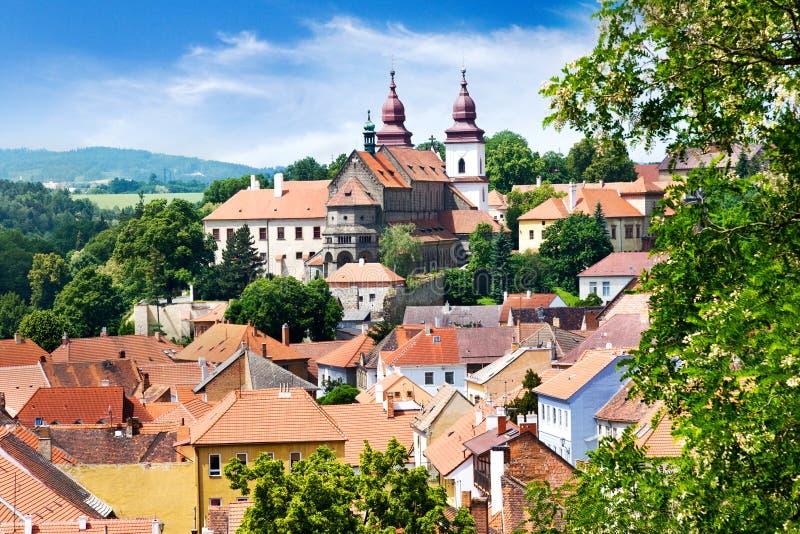 St. Procopius basiliek en Joodse stad (Unesco), Trebic, Vysocina, Tsjechische republiek, Europa stock foto's