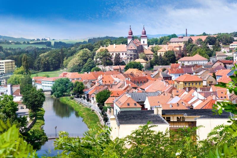 St. Procopius basiliek en Joodse stad (Unesco), Trebic, Vysocina, Tsjechische republiek, Europa stock foto