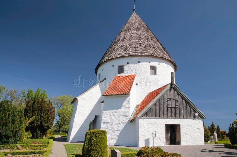 St. redondo Ols Kirke de la iglesia en Bornholm imágenes de archivo libres de regalías