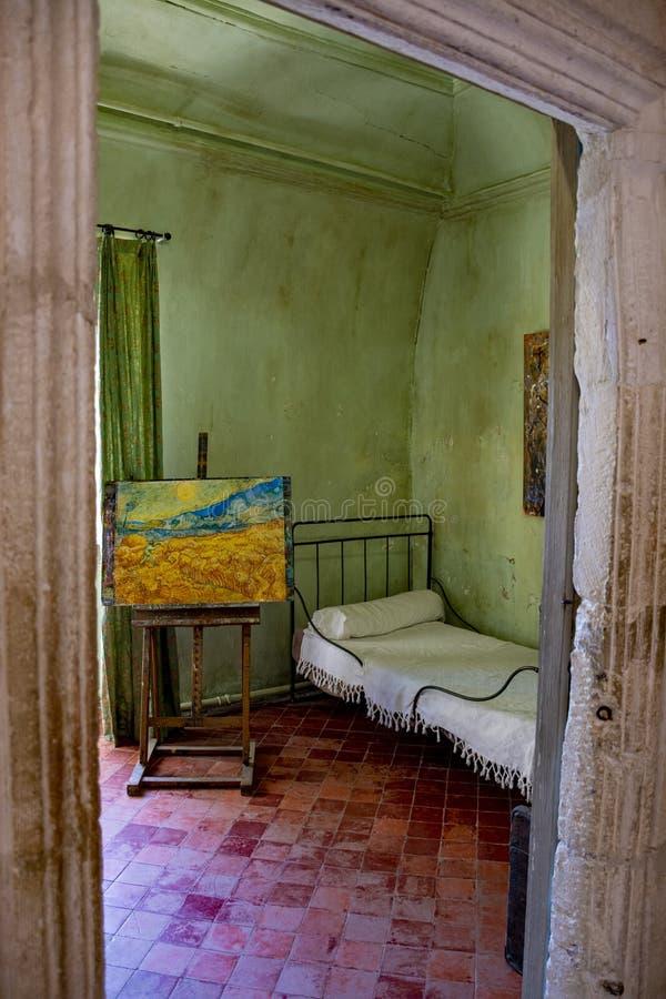 St. Remy de Provence, Bouches DU Rhône, Frankreich, 11 05 2019 Rekonstruktion von Vincent Van Goghâ-€˜s Raum im Kloster von St. stockfotografie
