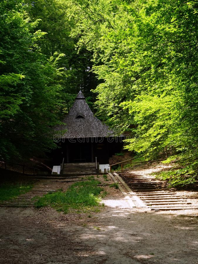 St. Roch Chapel in Krasnobrod, Roztocze, Poland. Wooden Chapel of St. Roch situated in picturesque beech forest in Krasnobrod, Roztocze, Poland royalty free stock images