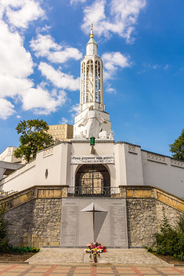 St. Roch's Church in Bialystok. On August 17, 2013. In the foreground the plaque commemorating Polish President Lech Kaczynski and other victims of the air stock photography