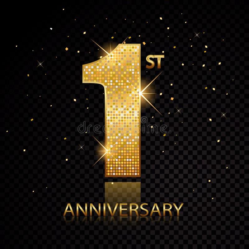 1st rocznicowe złote liczby odizolowywać na czarnym przejrzystym tle również zwrócić corel ilustracji wektora ilustracji