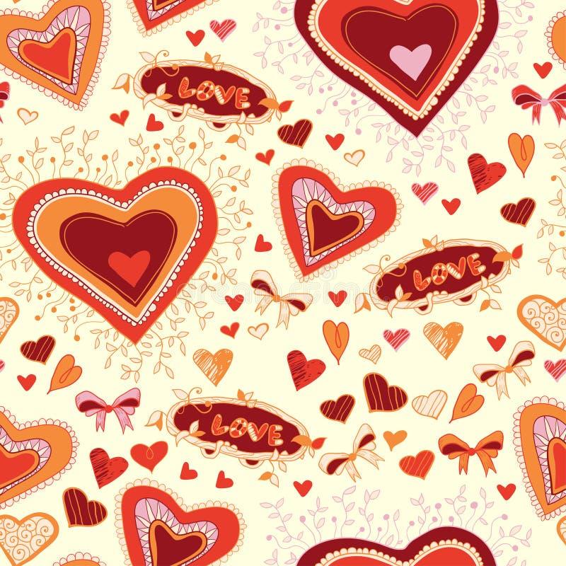 St., sömlös valentinbakgrundsförälskelse vektor illustrationer