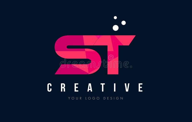 ST S T listu logo z Purpurowym Niskim Poli- Różowym trójboka pojęciem ilustracji