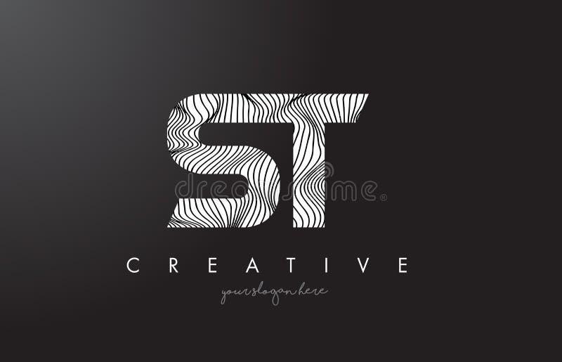 ST S T listu logo z zebr linii tekstury projekta wektorem royalty ilustracja