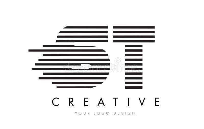 ST S T Zebra Letter Logo Design with Black and White Stripes royalty free illustration