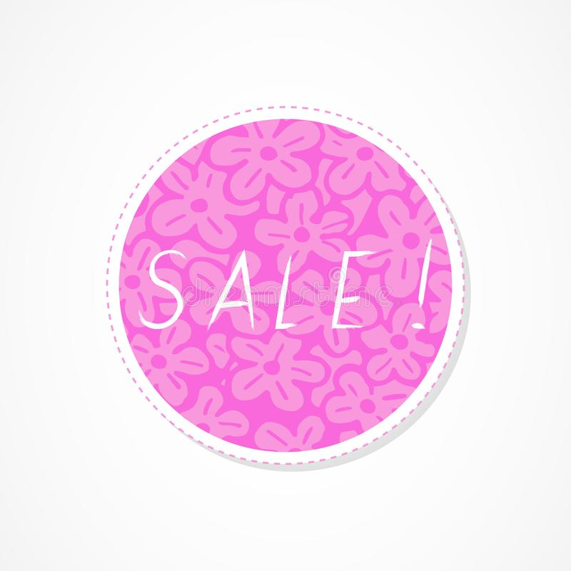 Sale inscription on decorative round backgrounds with floral pattern. Hand drawn lettering. Vector illustration stock illustration