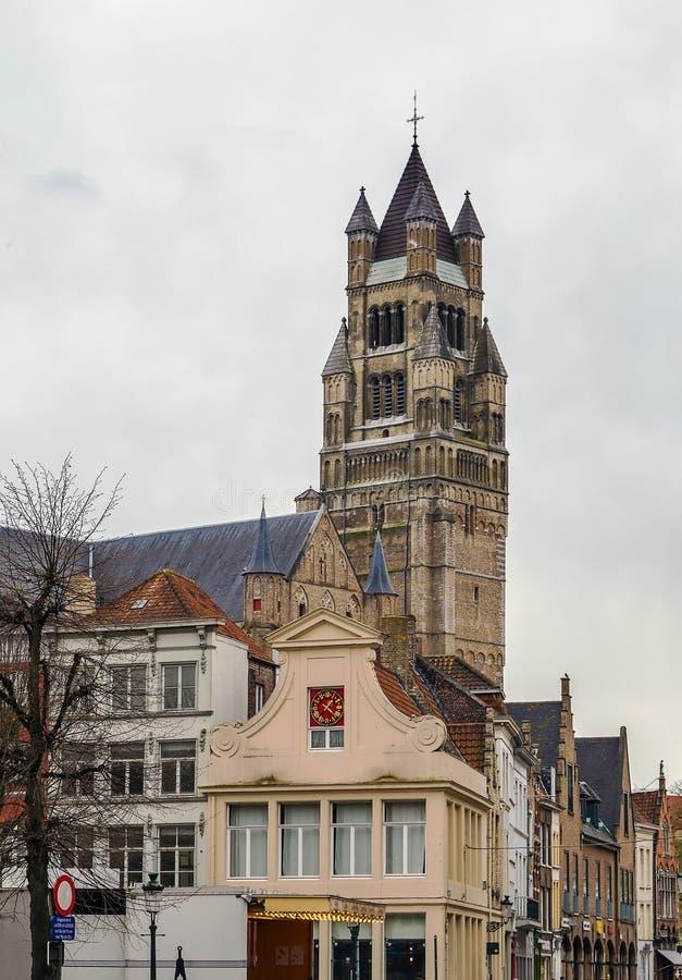 St Salvator Cathedral, Bruges, Belgien arkivfoto